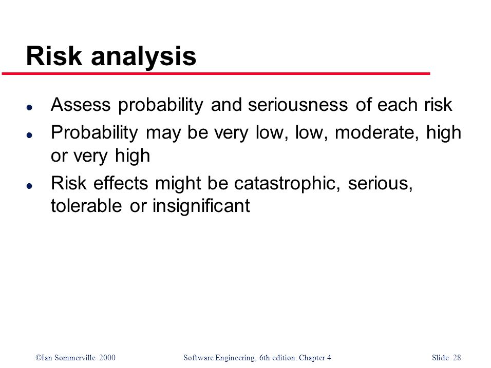Risk analysis Assess probability and seriousness of each risk