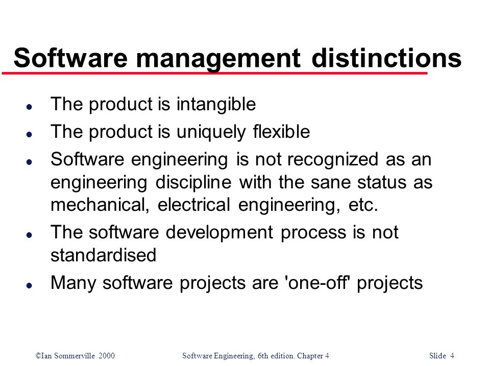 Software management distinctions