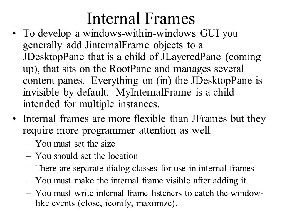 Internal Frames