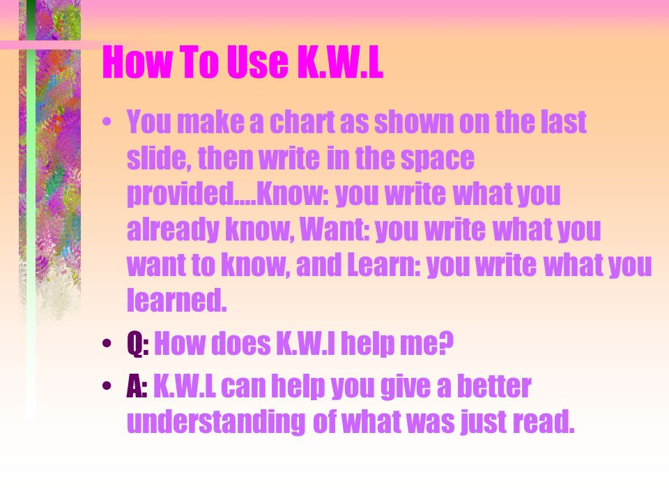 How To Use K.W.L