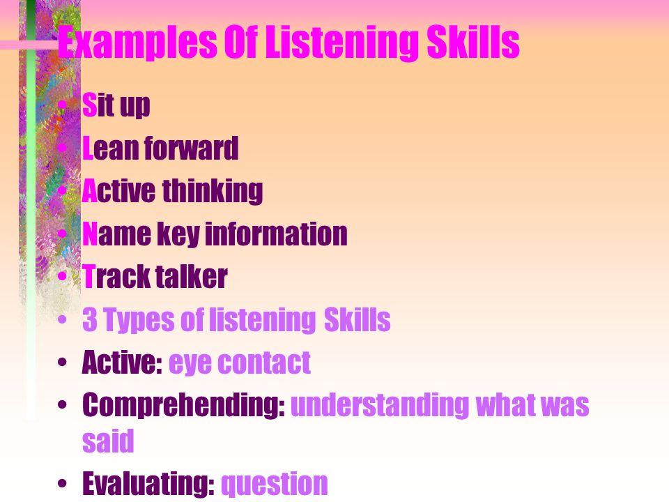 Examples Of Listening Skills