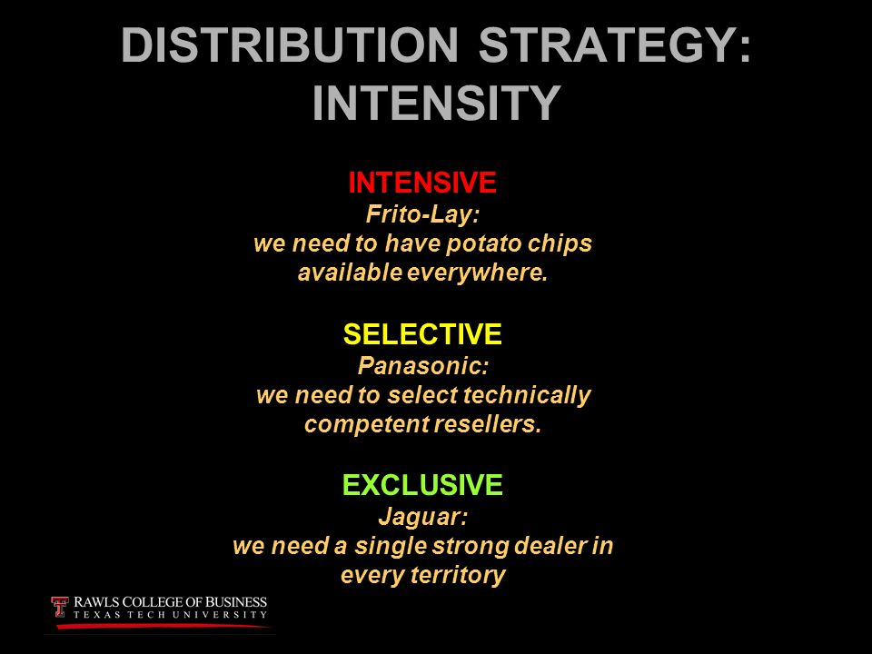 differentiate between intensive distribution and exclusive distribution Advertisements: some of the important types of distribution in international market are 1 intensive 2 selective and 3 exclusive distribution it represents the level of international availability selected for a particular product by the marketer the level of intensity chosen will depend upon factor such as the production capacity, the size of.