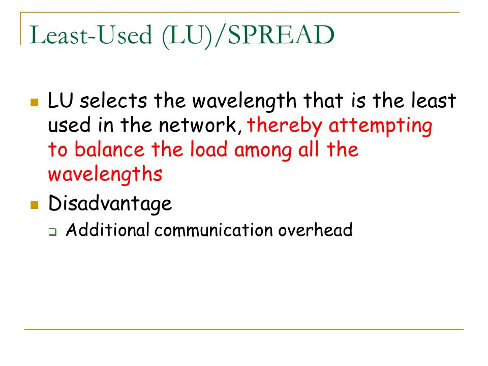 Least-Used (LU)/SPREAD