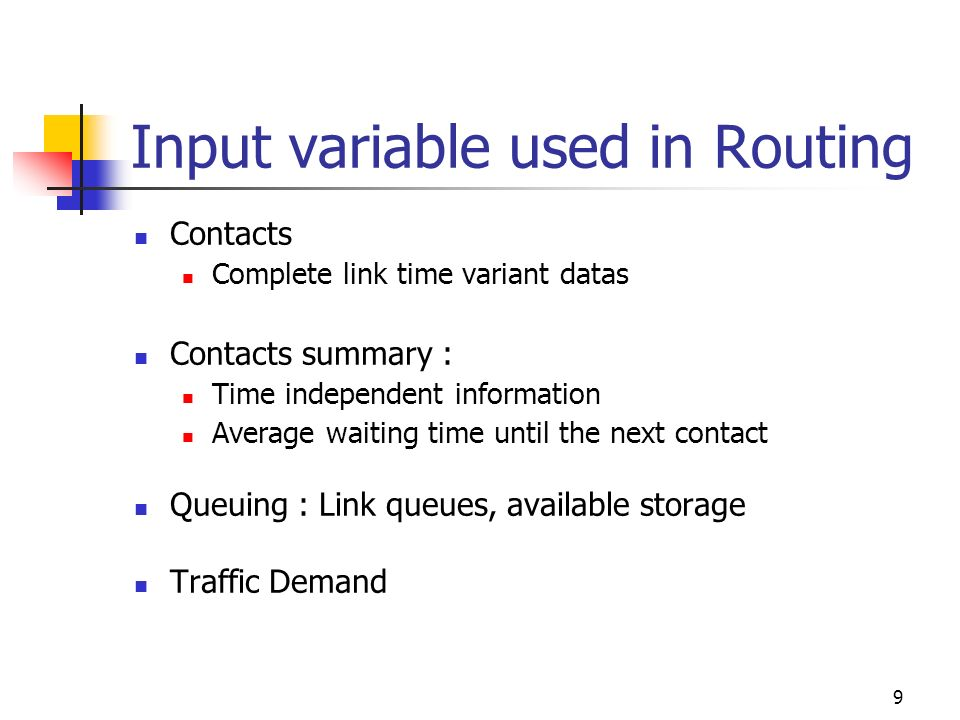 Input variable used in Routing