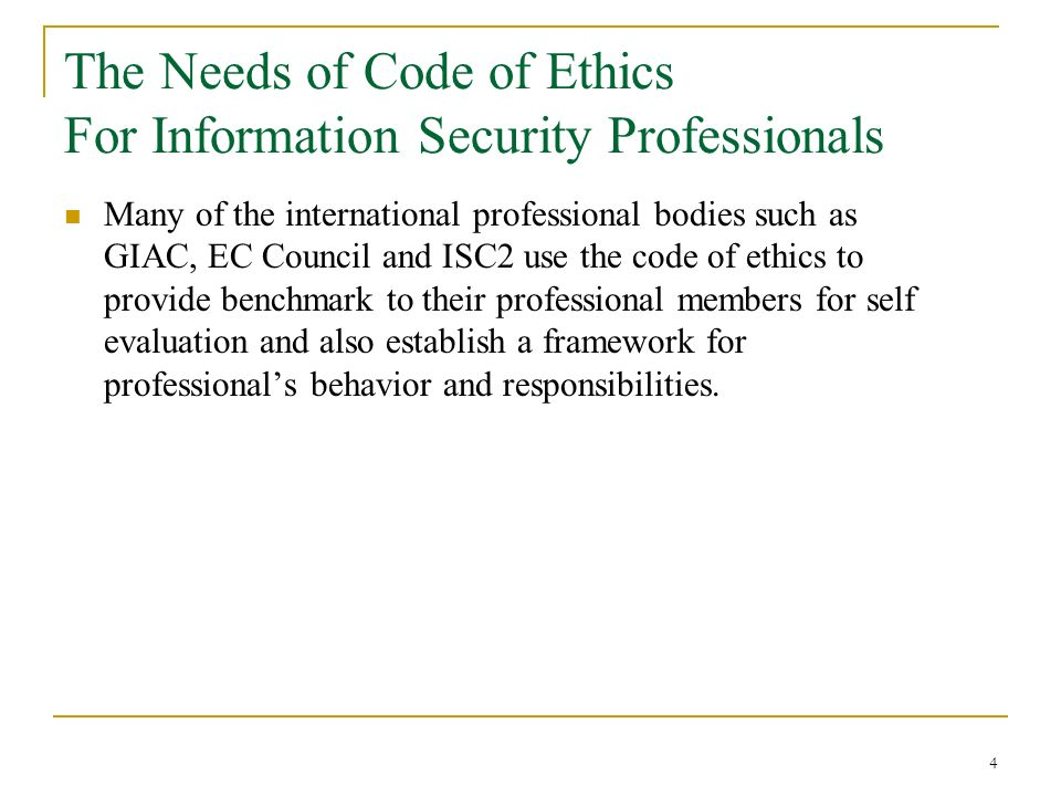 code of ethics and security case View homework help - ajs 532 week 3 code of ethics and security case study from ajs 532 at stamford university bangladesh support or condemn the conduct in the selected case study.