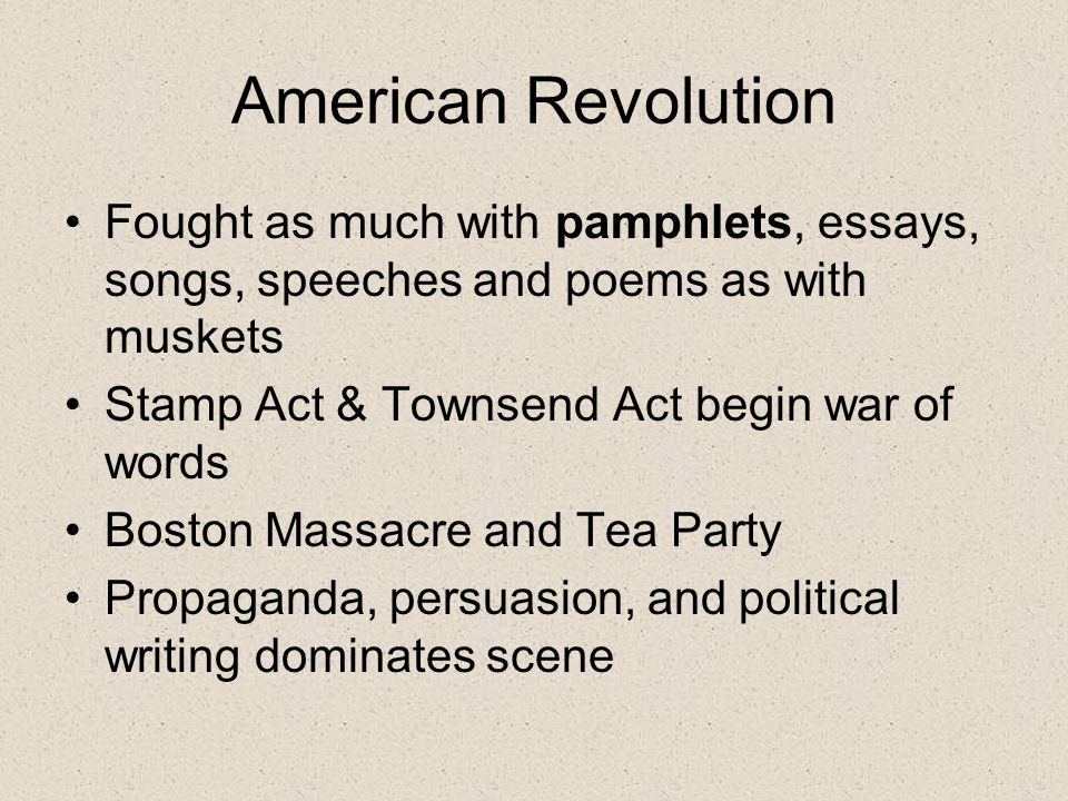 how the american revolution started essay Free essay: during the late eighteenth century the colonies were in a fight for independence a fight for a revolution from a government that had oppressed.