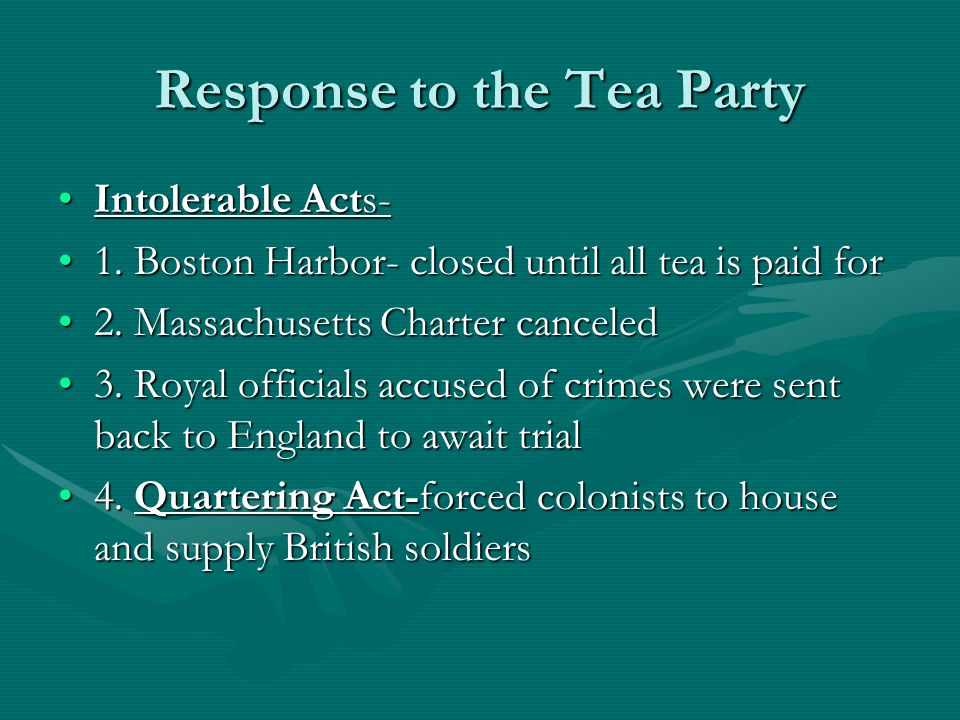 Response to the Tea Party