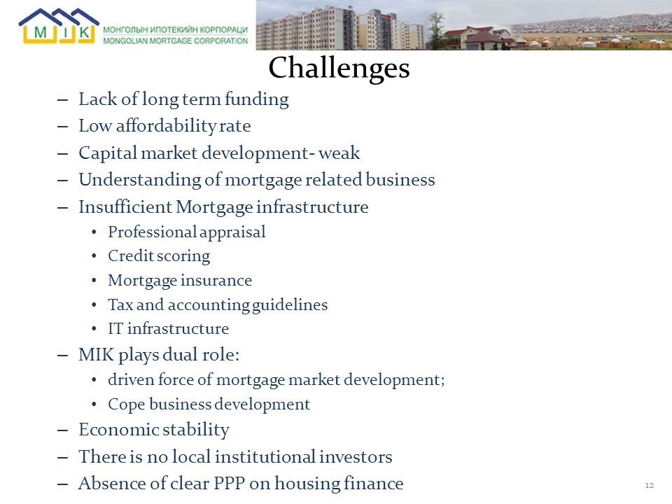 Challenges Lack of long term funding Low affordability rate