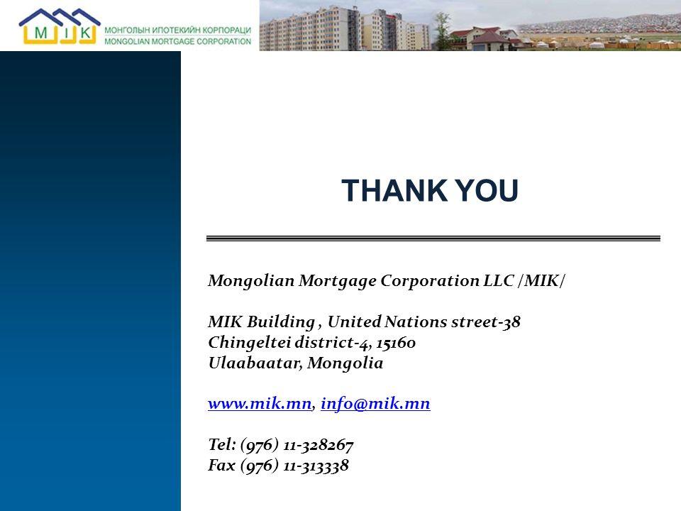 THANK YOU Mongolian Mortgage Corporation LLC /MIK/