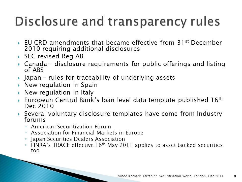 Disclosure and transparency rules