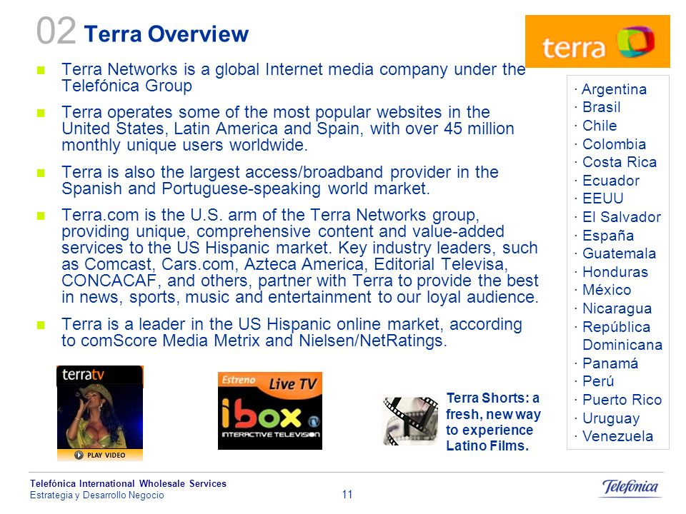 02Terra Overview. Terra Networks is a global Internet media company under the Telefónica Group.