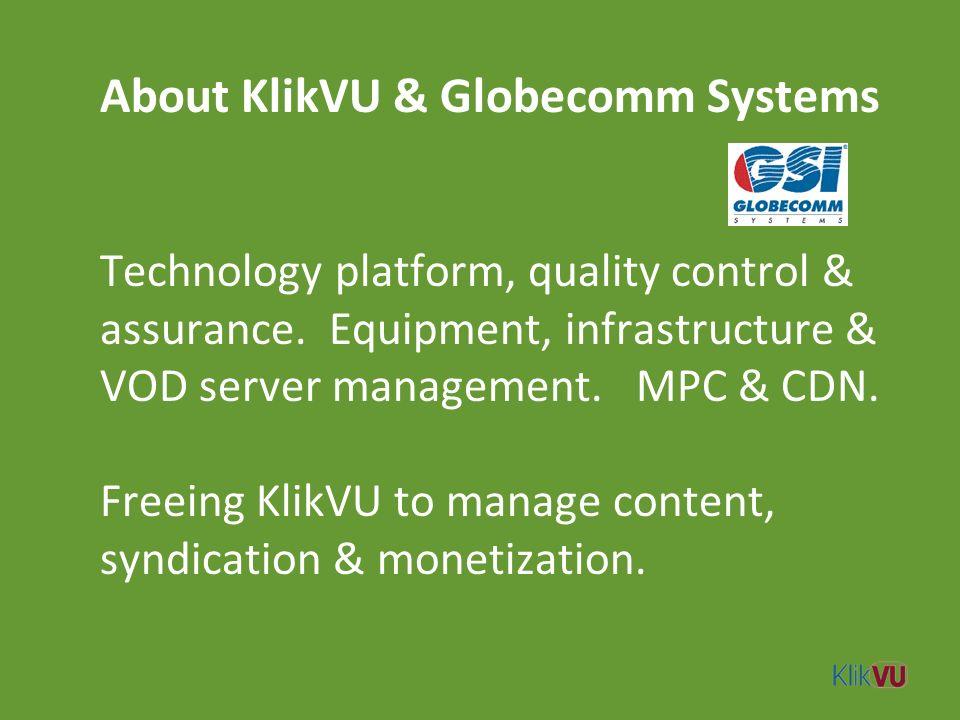 About KlikVU & Globecomm Systems Technology platform, quality control & assurance.