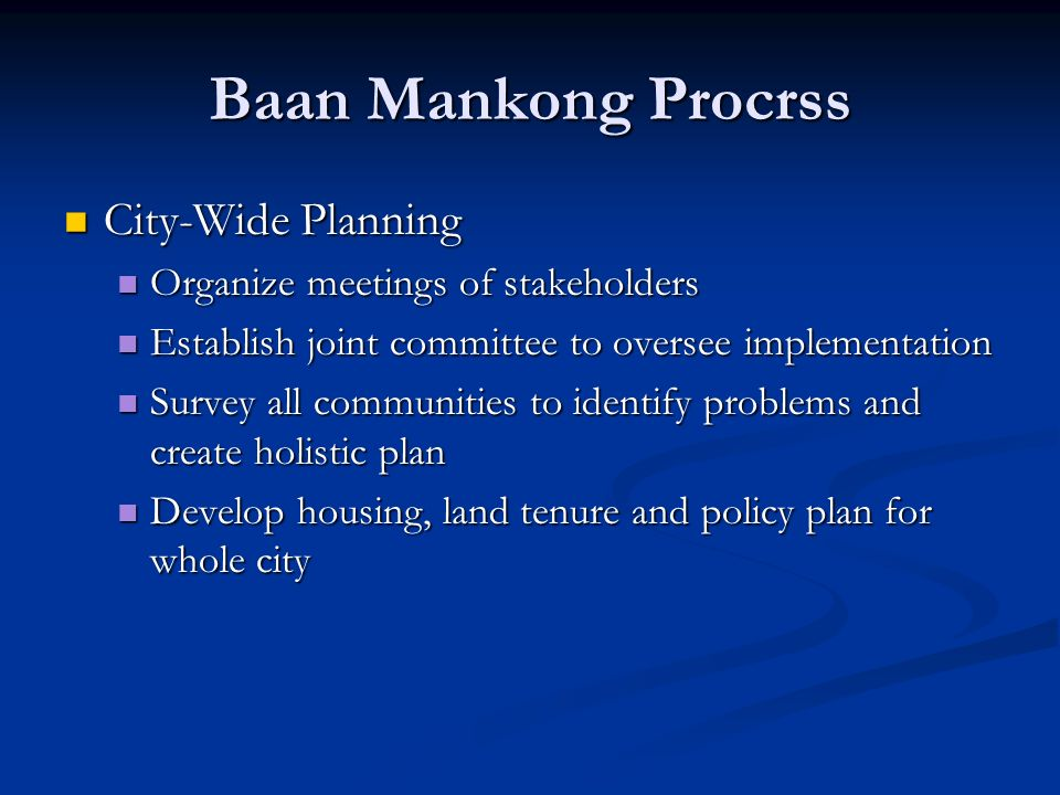 Baan Mankong Procrss City-Wide Planning