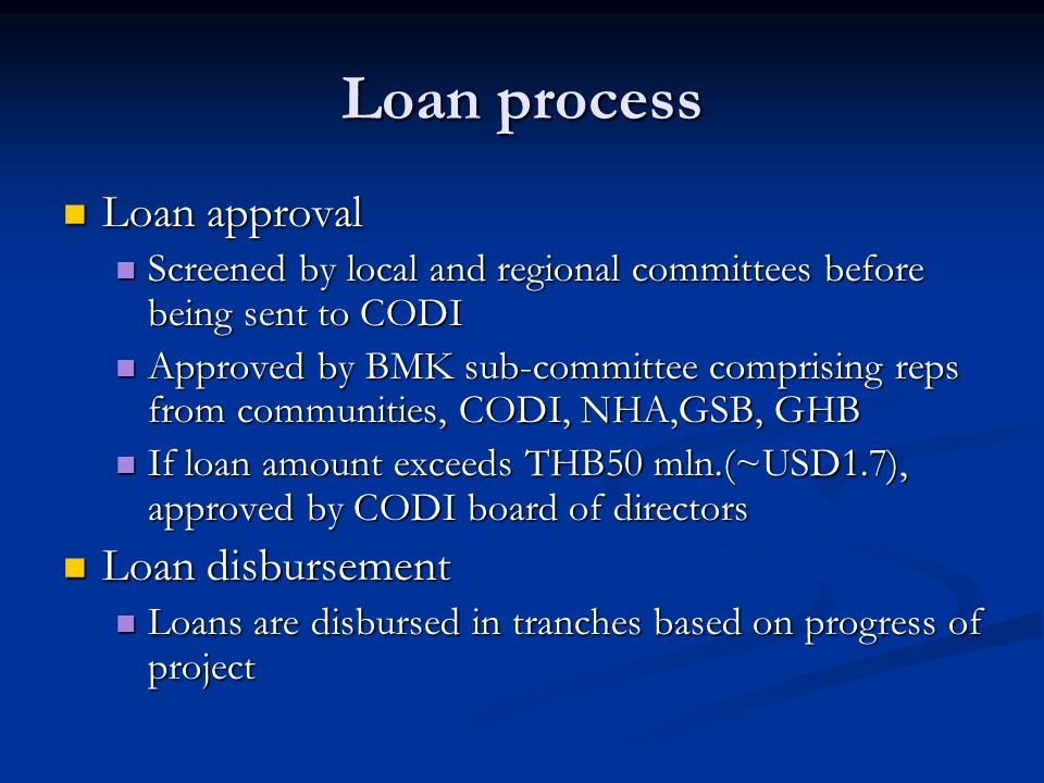 Loan process Loan approval Loan disbursement
