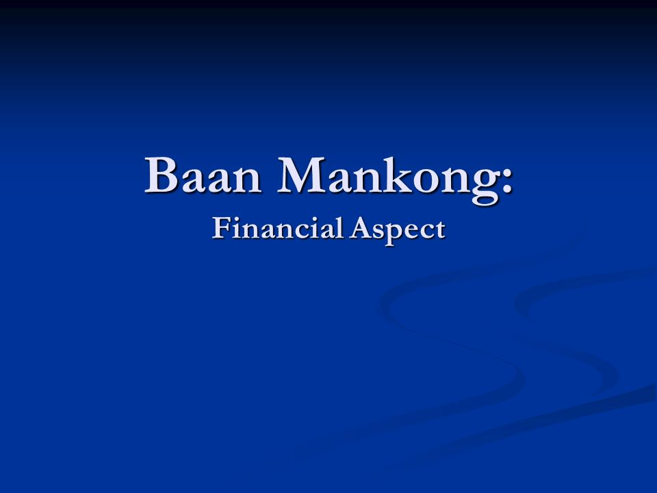 Baan Mankong: Financial Aspect
