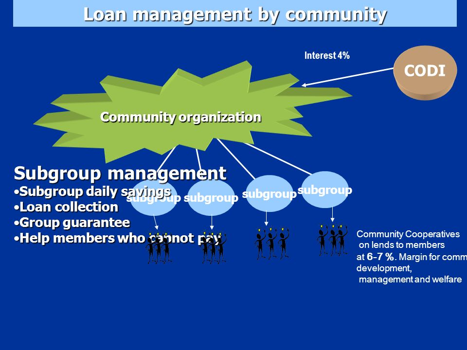 Community organization Loan management by community