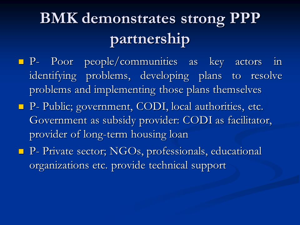 BMK demonstrates strong PPP partnership