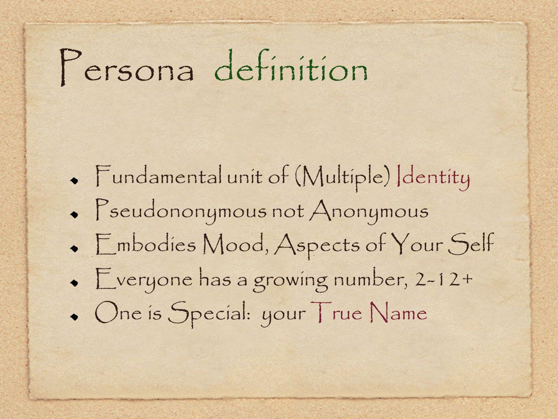 Persona definition Fundamental unit of (Multiple) Identity