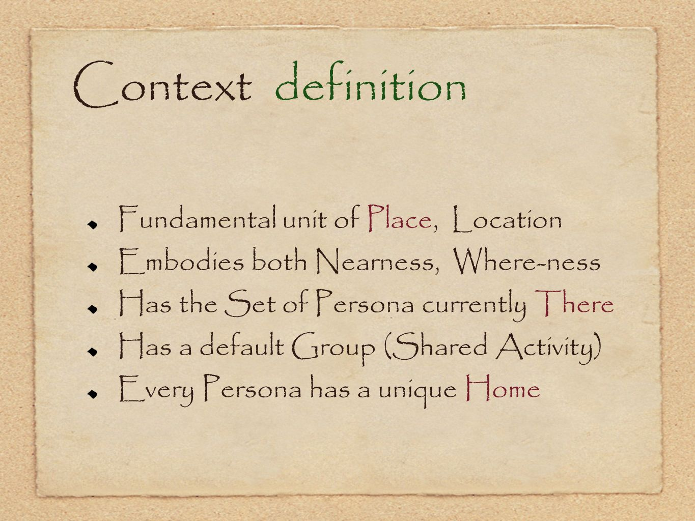 Context definition Fundamental unit of Place, Location