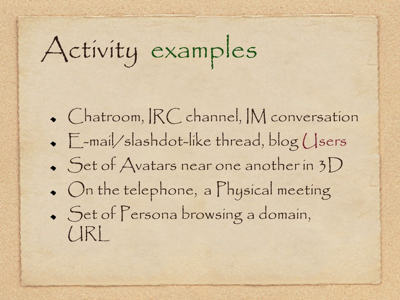 Activity examples Chatroom, IRC channel, IM conversation