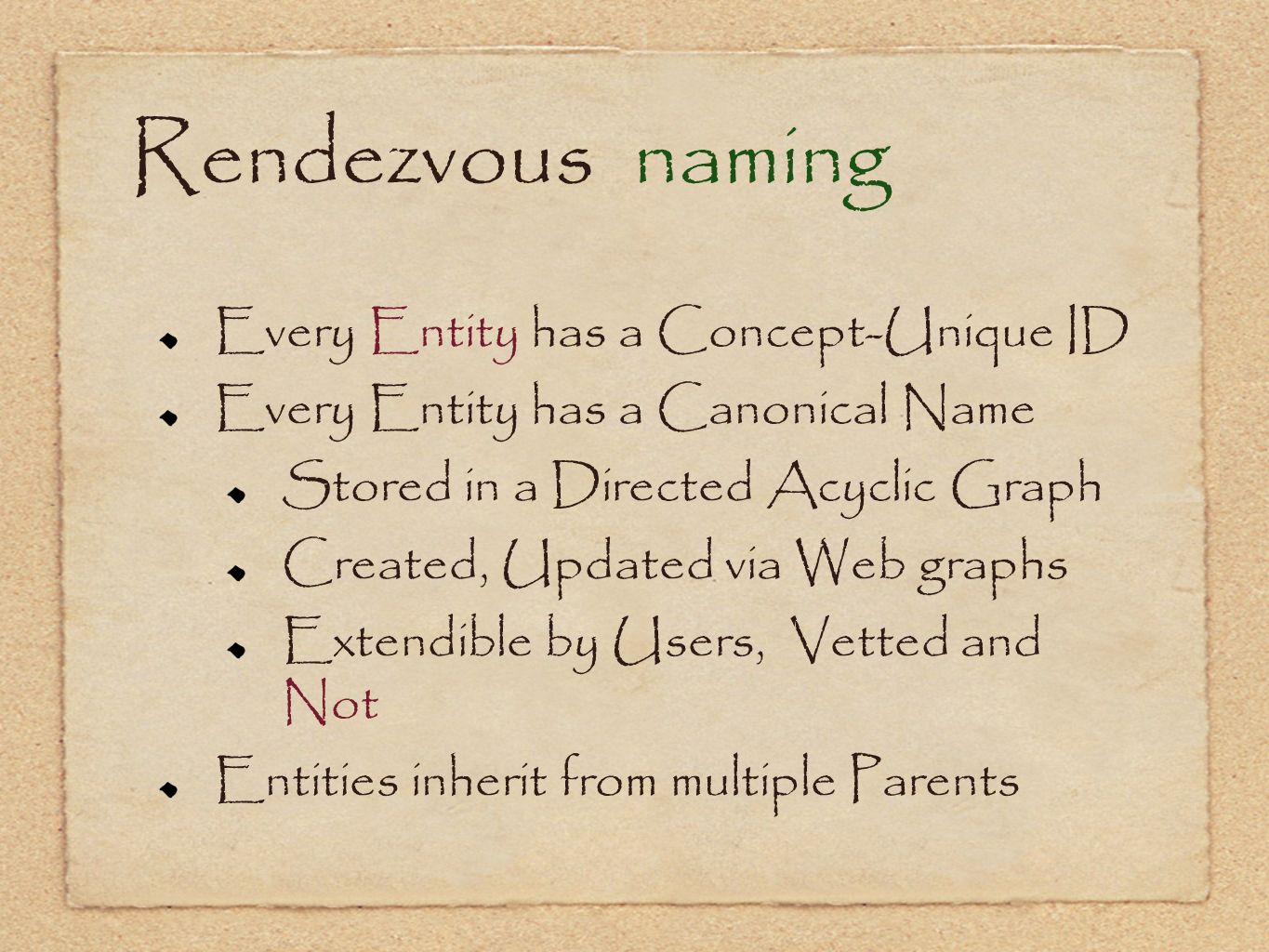 Rendezvous naming Every Entity has a Concept-Unique ID