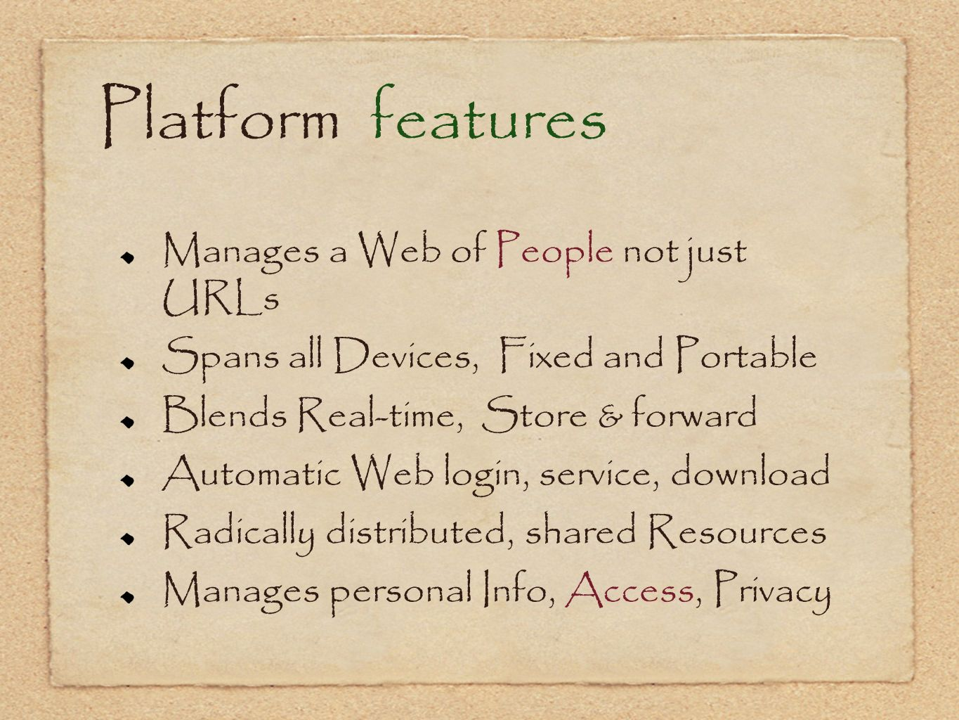 Platform features Manages a Web of People not just URLs