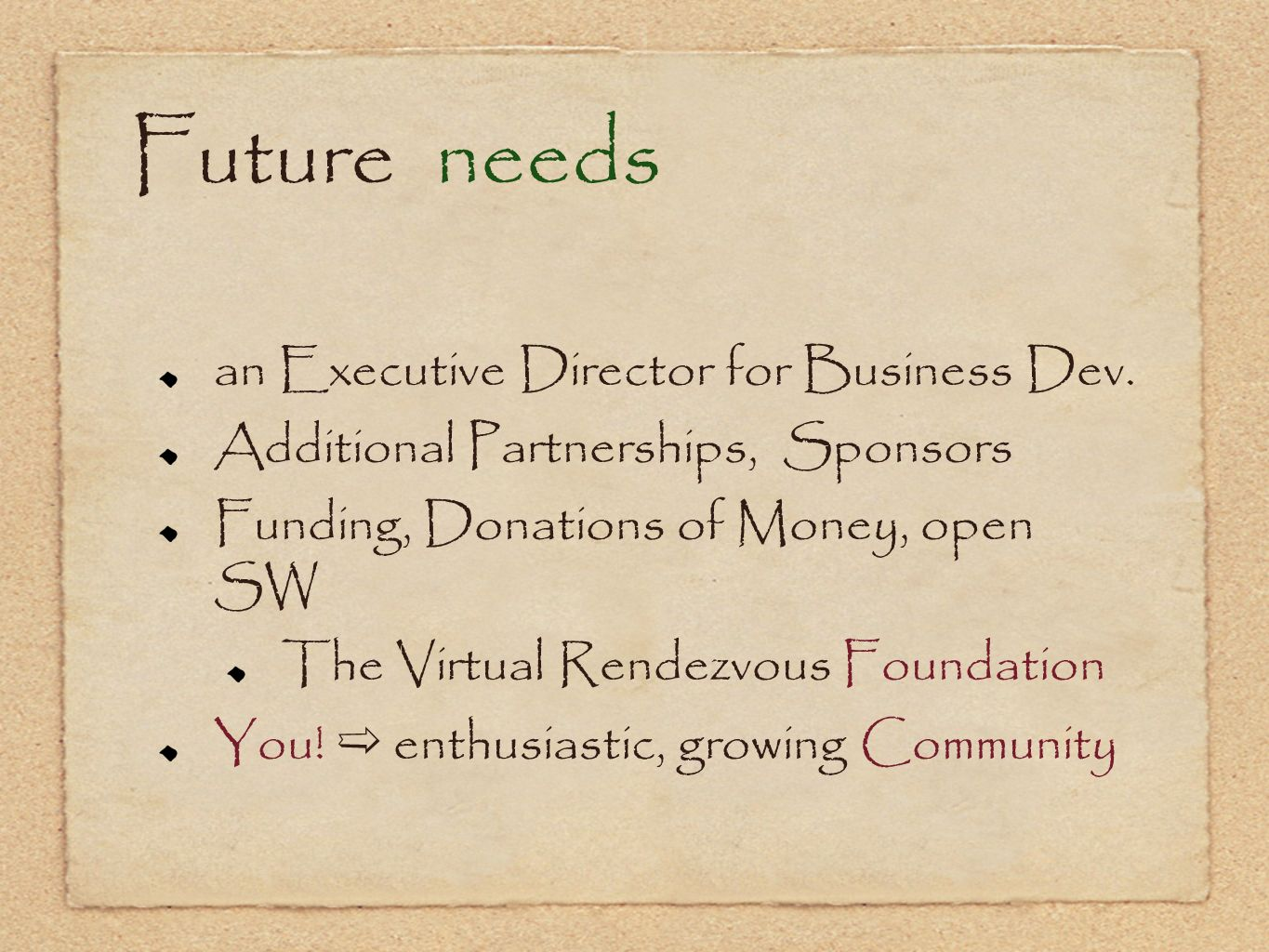 Future needs an Executive Director for Business Dev.
