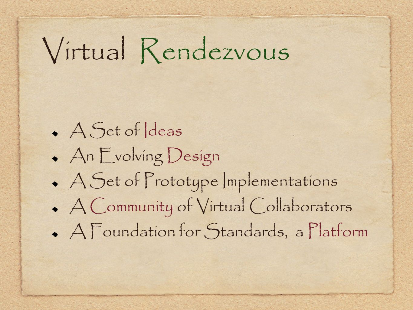 Virtual Rendezvous A Set of Ideas An Evolving Design