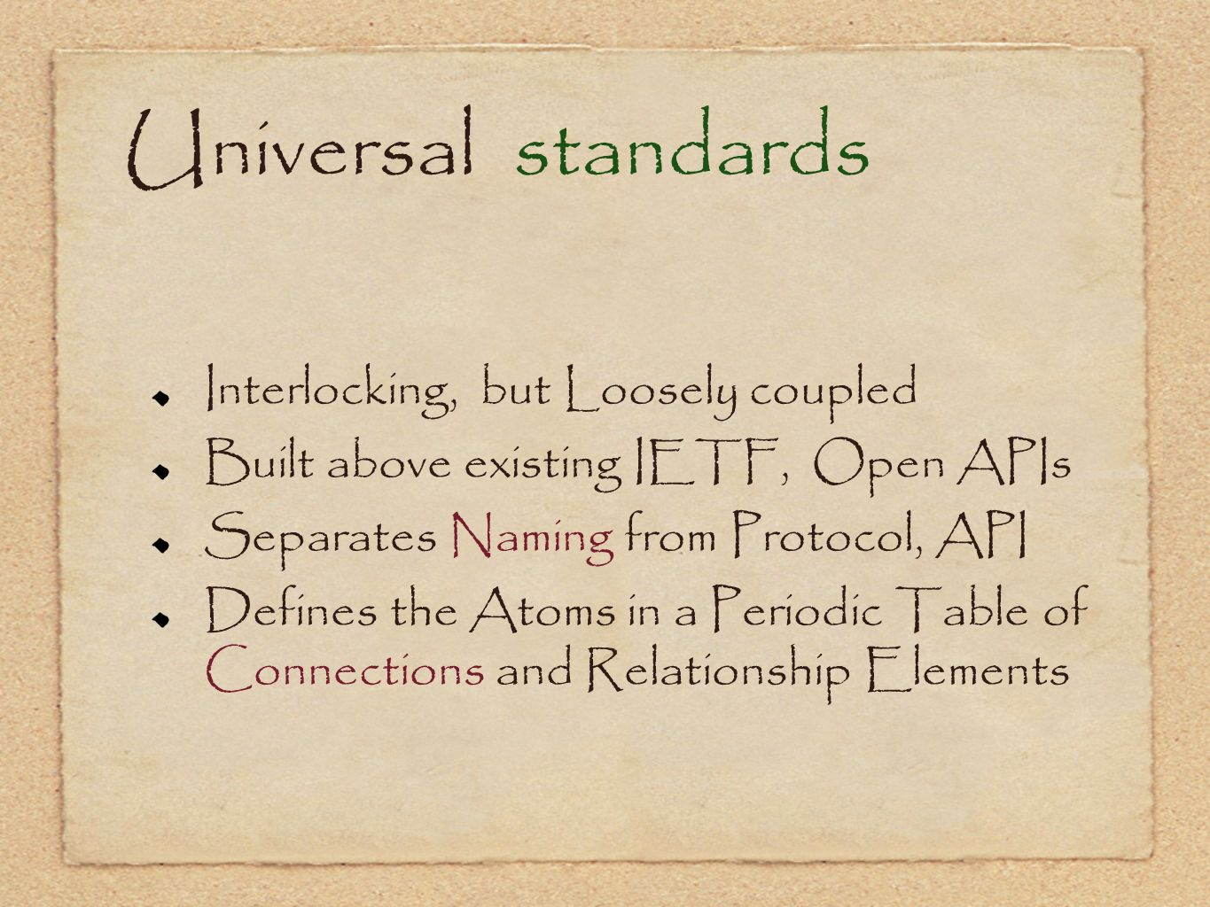 Universal standards Interlocking, but Loosely coupled