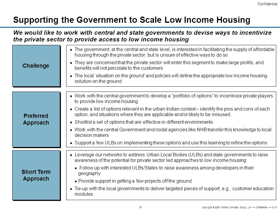 Supporting the Government to Scale Low Income Housing