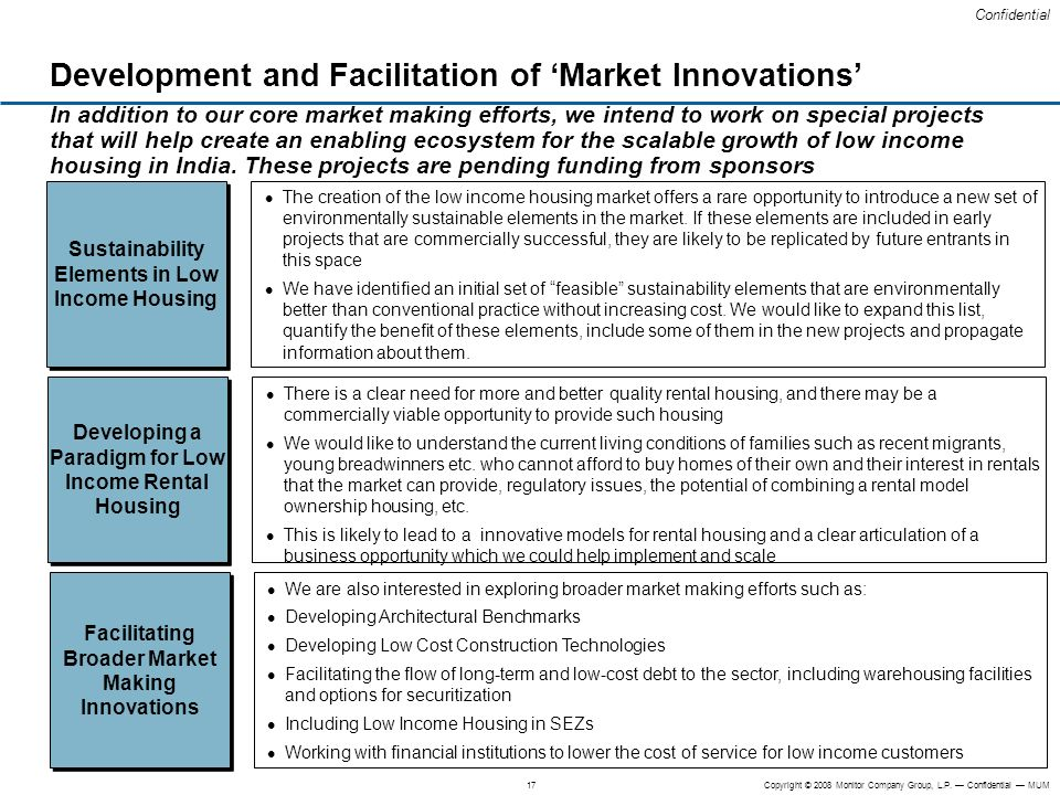 Development and Facilitation of 'Market Innovations'