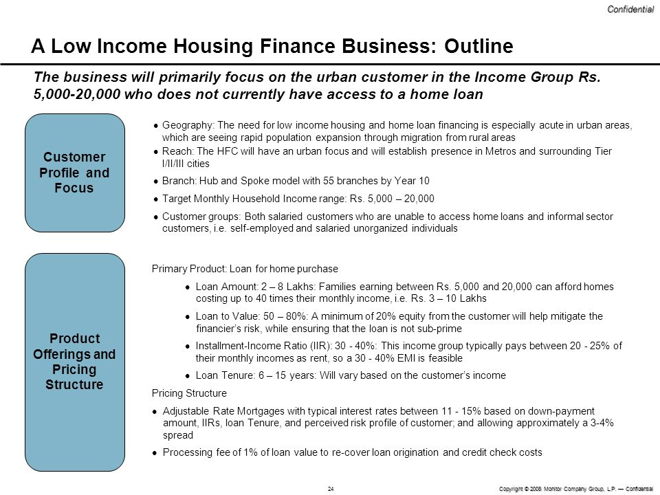 A Low Income Housing Finance Business: Outline