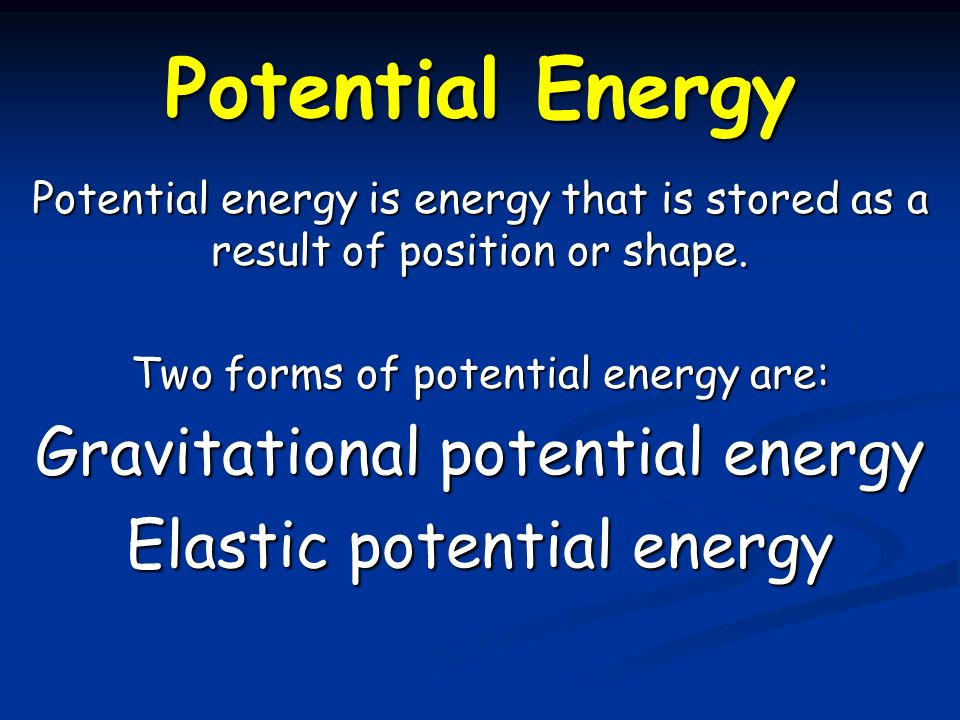 mass and potential energy relationship