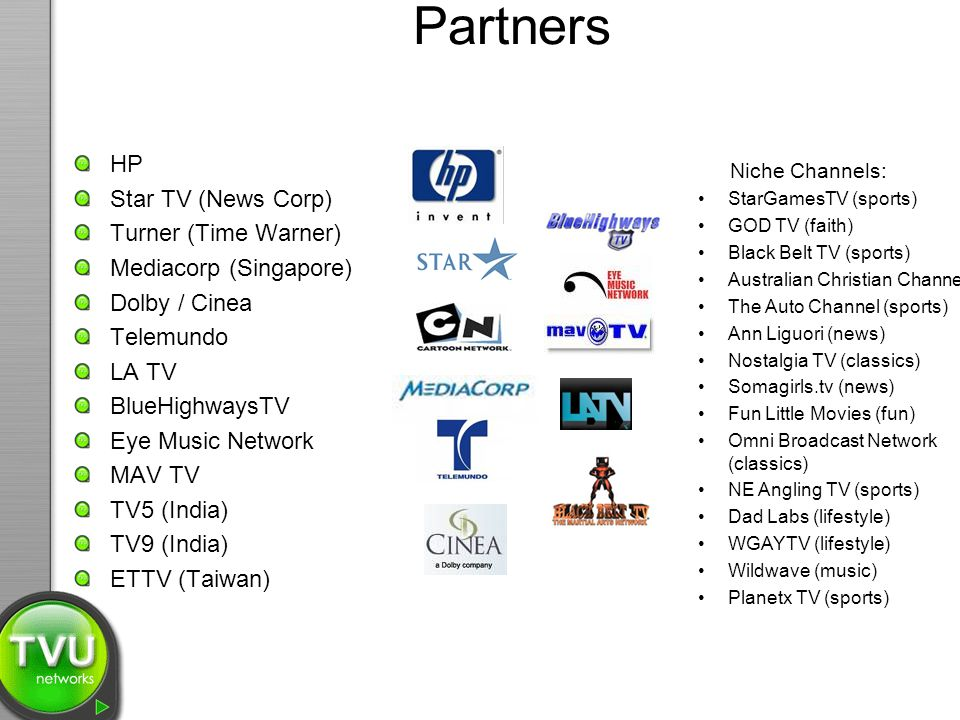 Partners HP Star TV (News Corp) Turner (Time Warner)