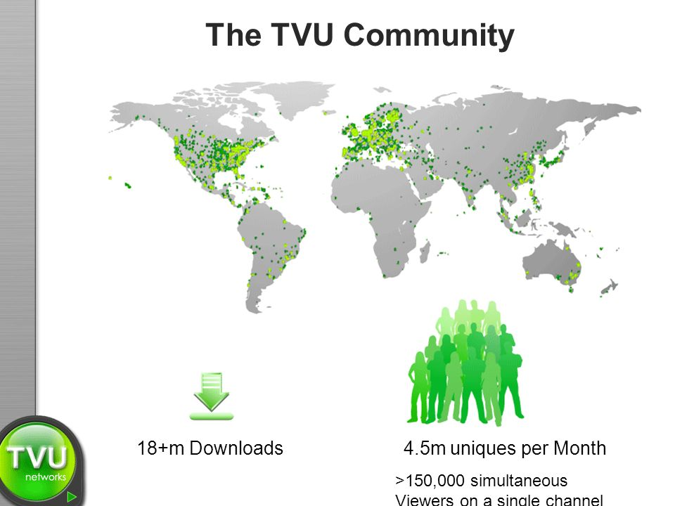 The TVU Community 18+m Downloads 4.5m uniques per Month