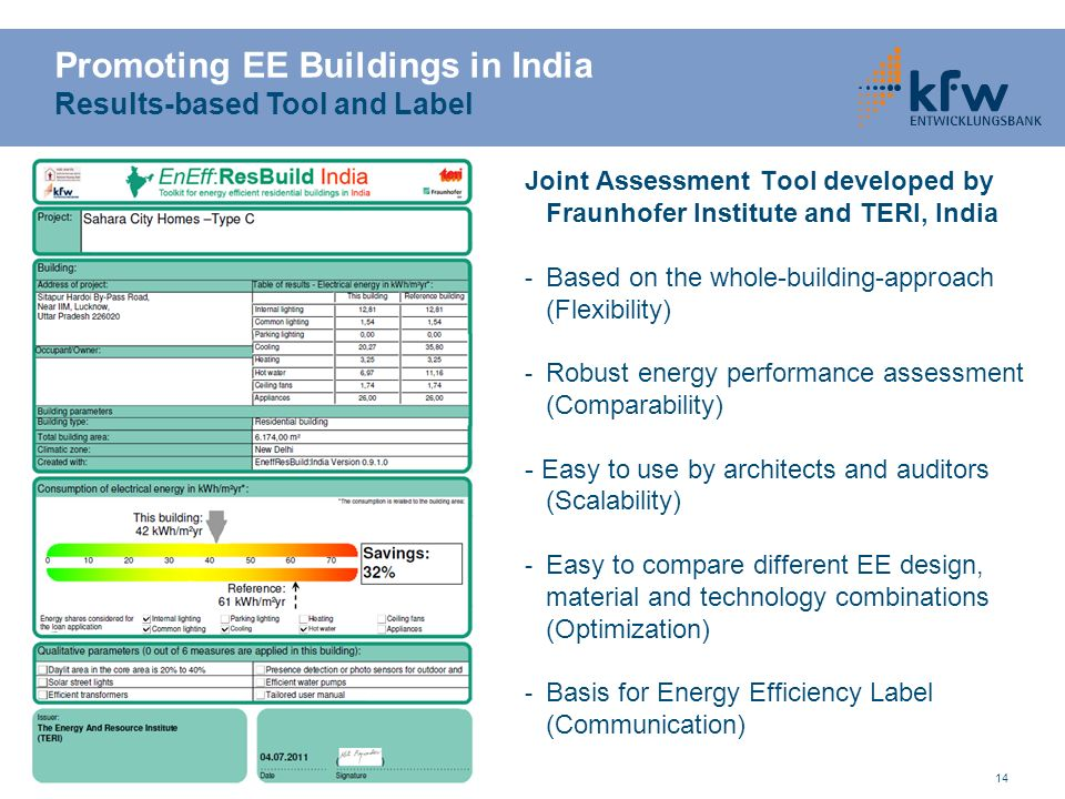 Promoting EE Buildings in India Results-based Tool and Label