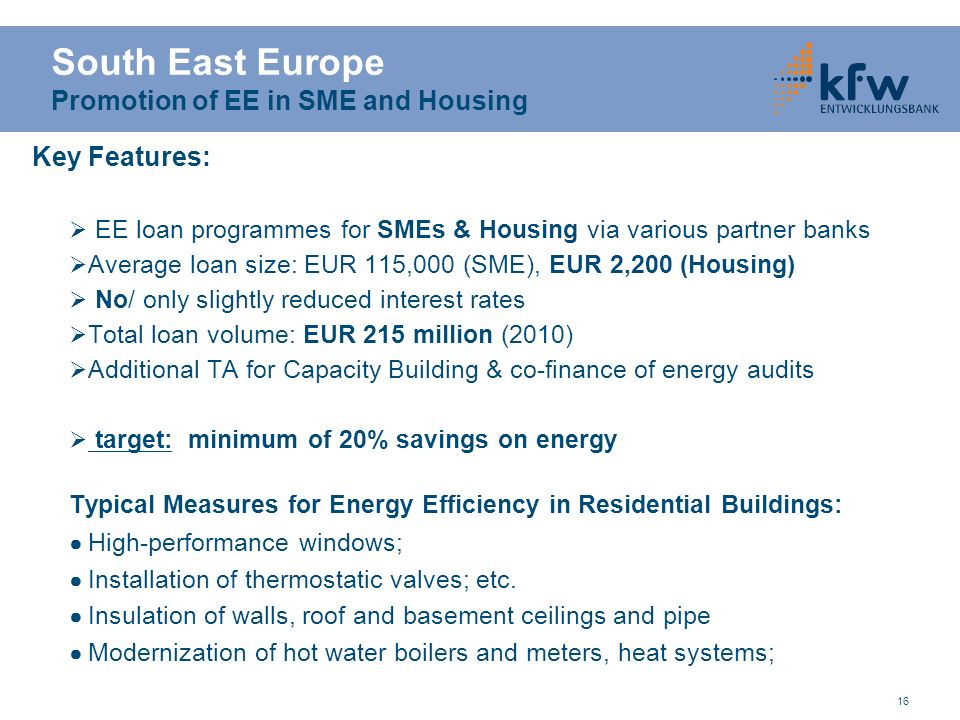 South East Europe Promotion of EE in SME and Housing