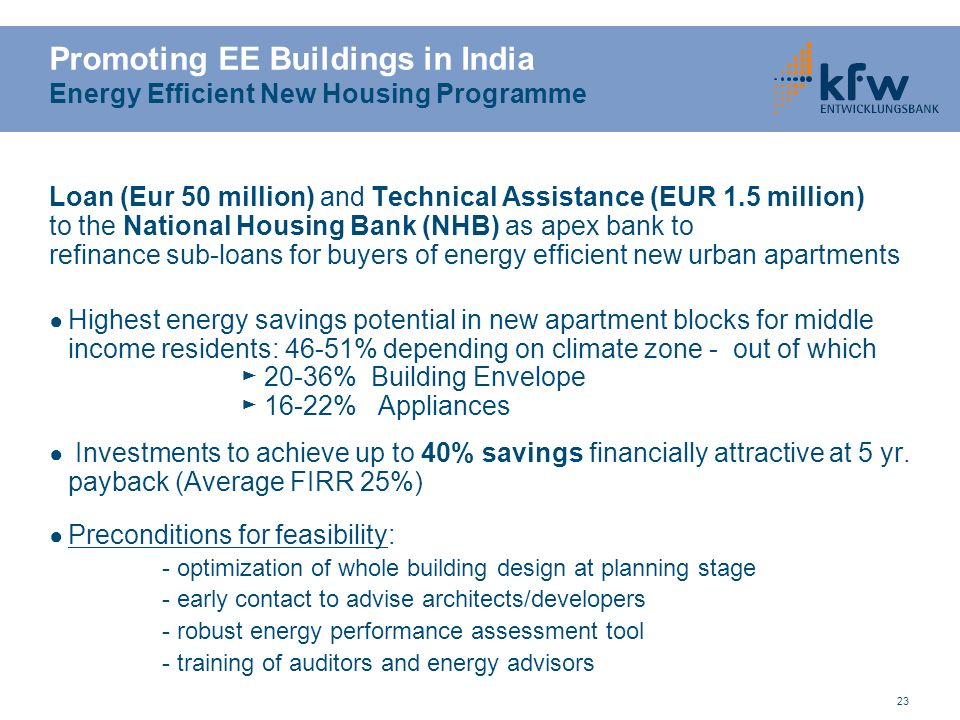 Promoting EE Buildings in India Energy Efficient New Housing Programme