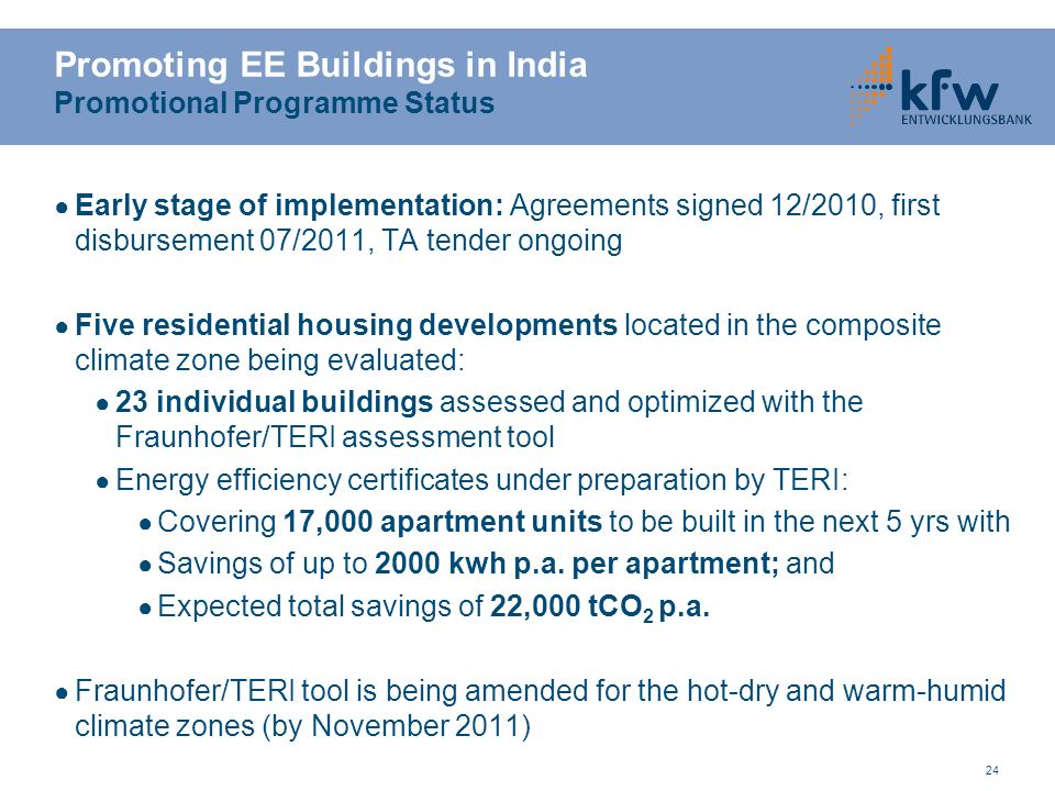 Promoting EE Buildings in India Promotional Programme Status