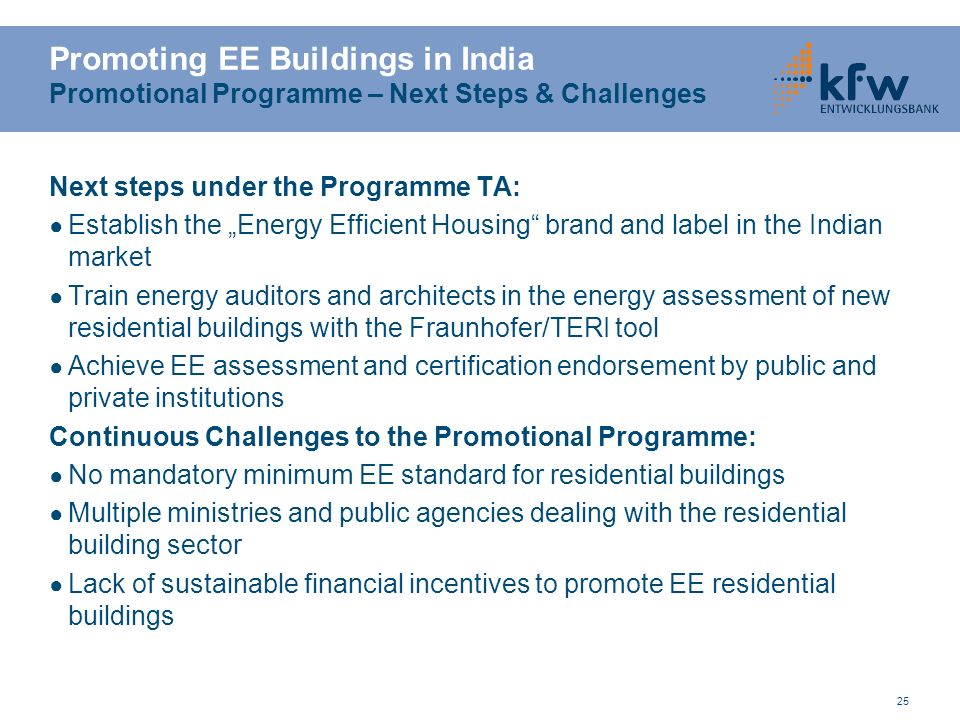 Promoting EE Buildings in India Promotional Programme – Next Steps & Challenges