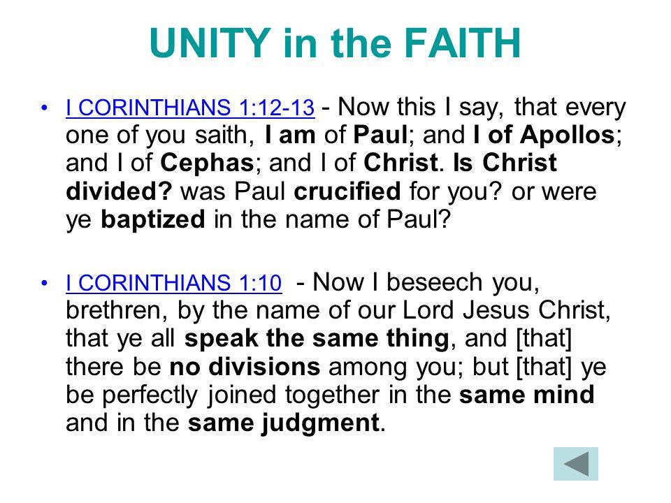 UNITY in the FAITH