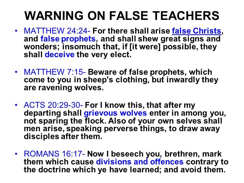 WARNING ON FALSE TEACHERS