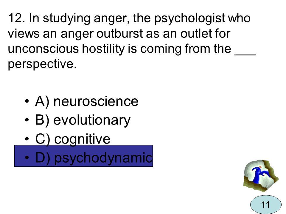 A) neuroscience B) evolutionary C) cognitive D) psychodynamic