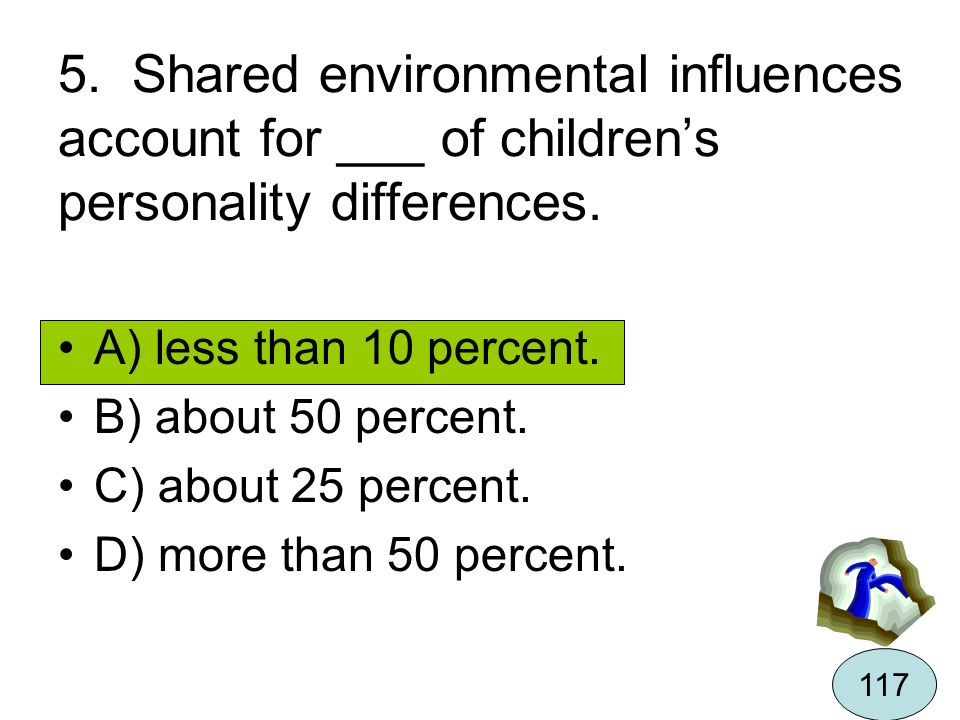5. Shared environmental influences account for ___ of children's personality differences.