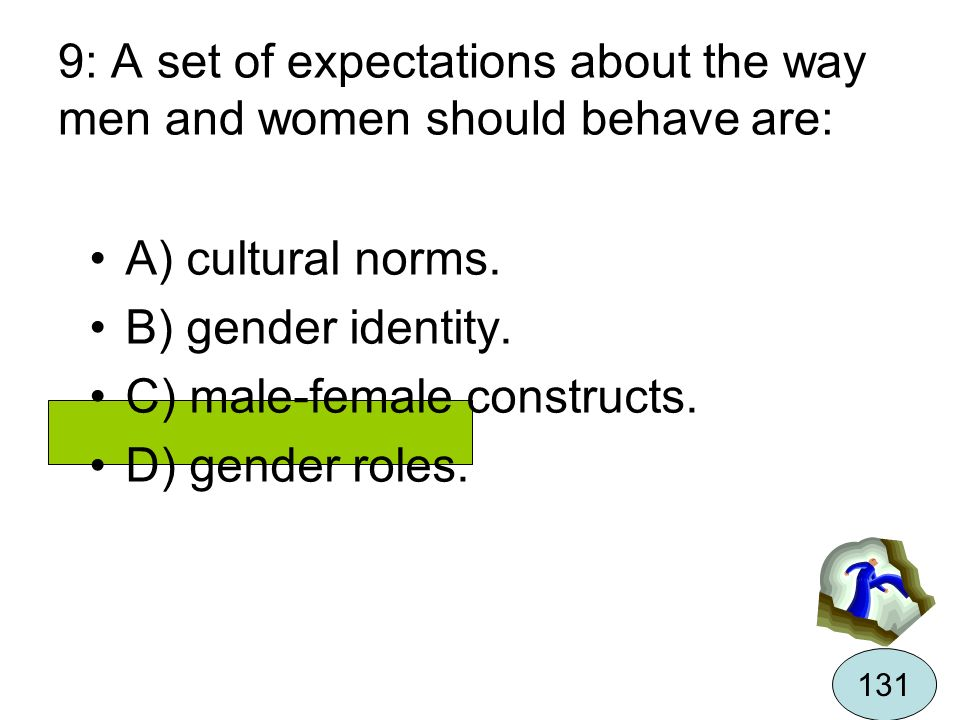 C) male-female constructs. D) gender roles.