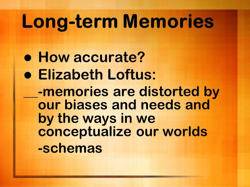 Long-term Memories How accurate Elizabeth Loftus: -schemas