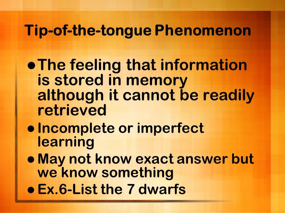 Tip-of-the-tongue Phenomenon