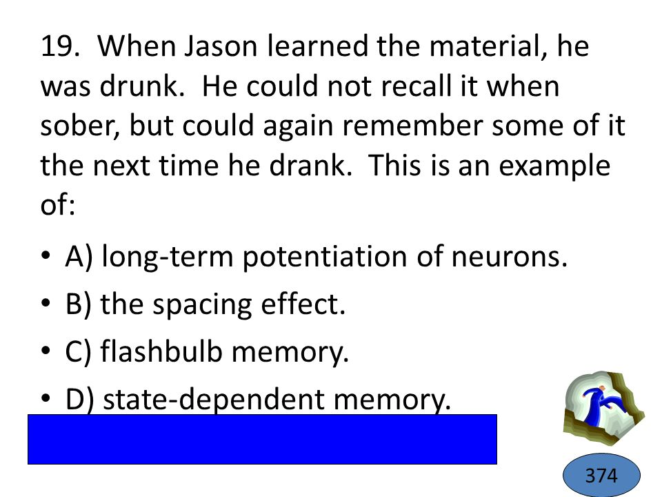 A) long-term potentiation of neurons. B) the spacing effect.