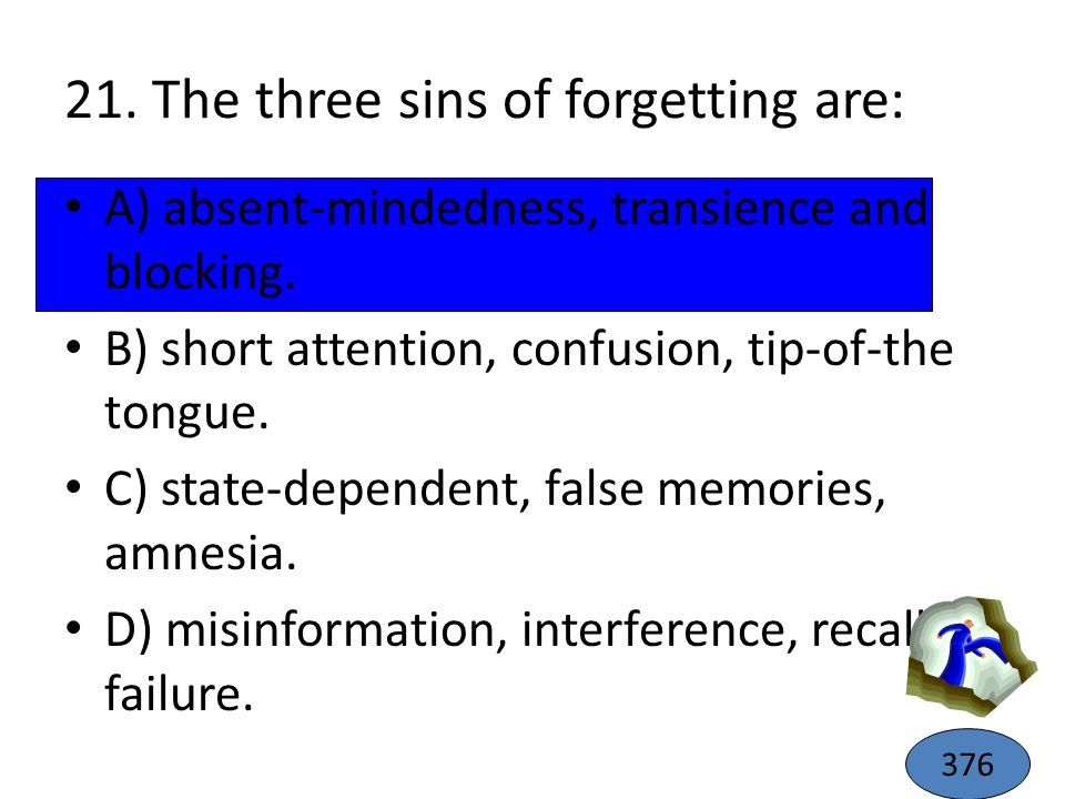 21. The three sins of forgetting are: