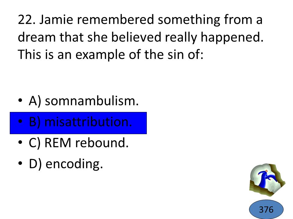 22. Jamie remembered something from a dream that she believed really happened. This is an example of the sin of: